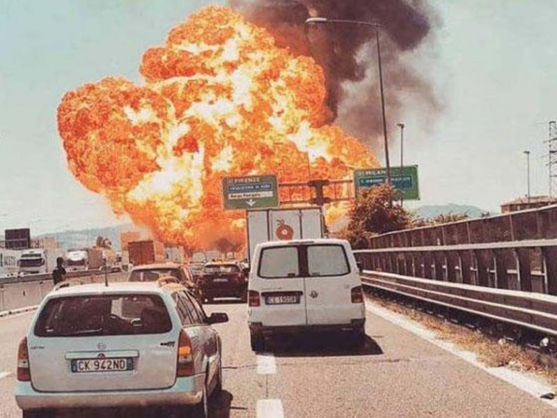 TOLL ROADS TPL, EXPLOSION IN BOLOGNA, ITALY